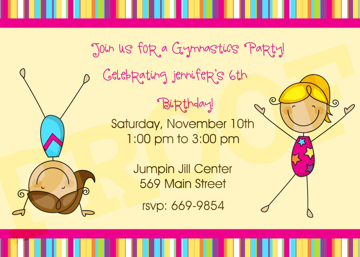 Gymnastics Birthday Party Invitations Printable