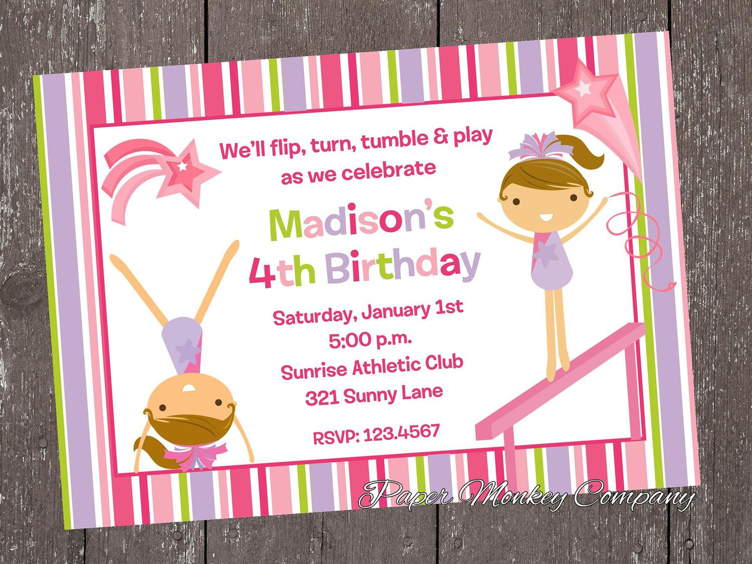 Gymnastics Invitations Birthday Party