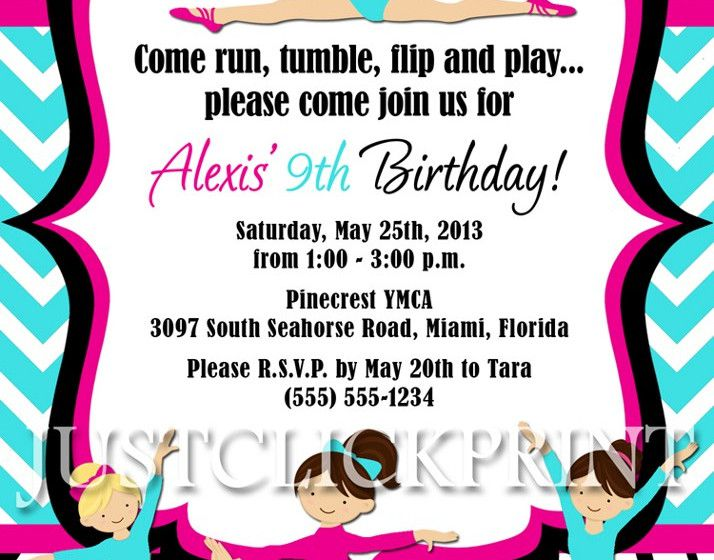 Gymnastics Themed Birthday Invitations
