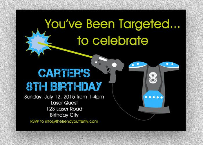 Homemade Laser Tag Birthday Invitations