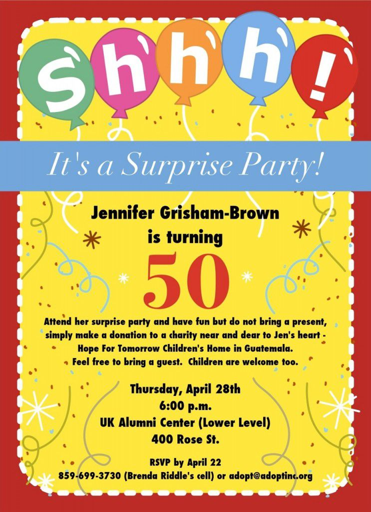 Invitations For A Surprise 50th Birthday Party