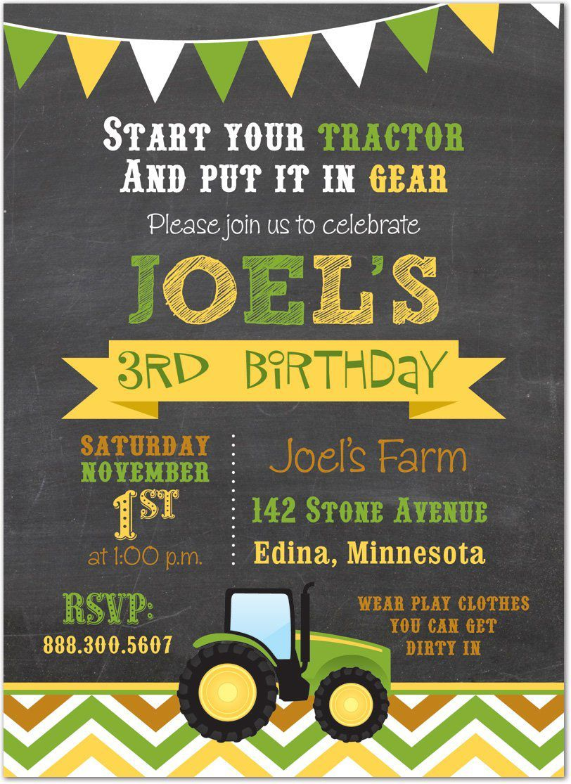 Johnny Tractor Birthday Invitations