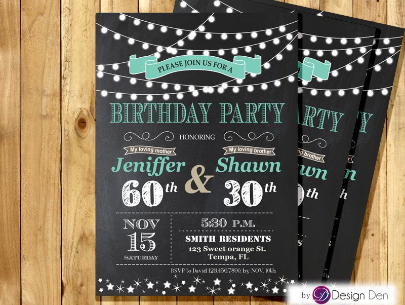 Joint Birthday Invitations Adults