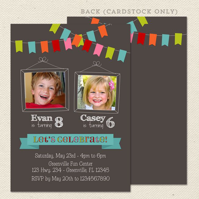 Joint Birthday Party Invitations Templates