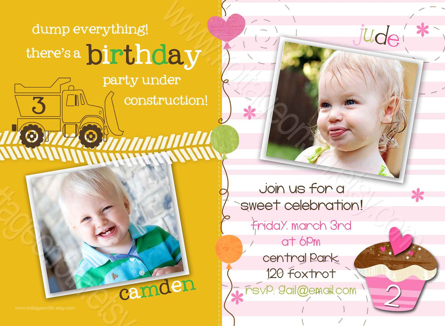 Joint Sibling Birthday Invitations