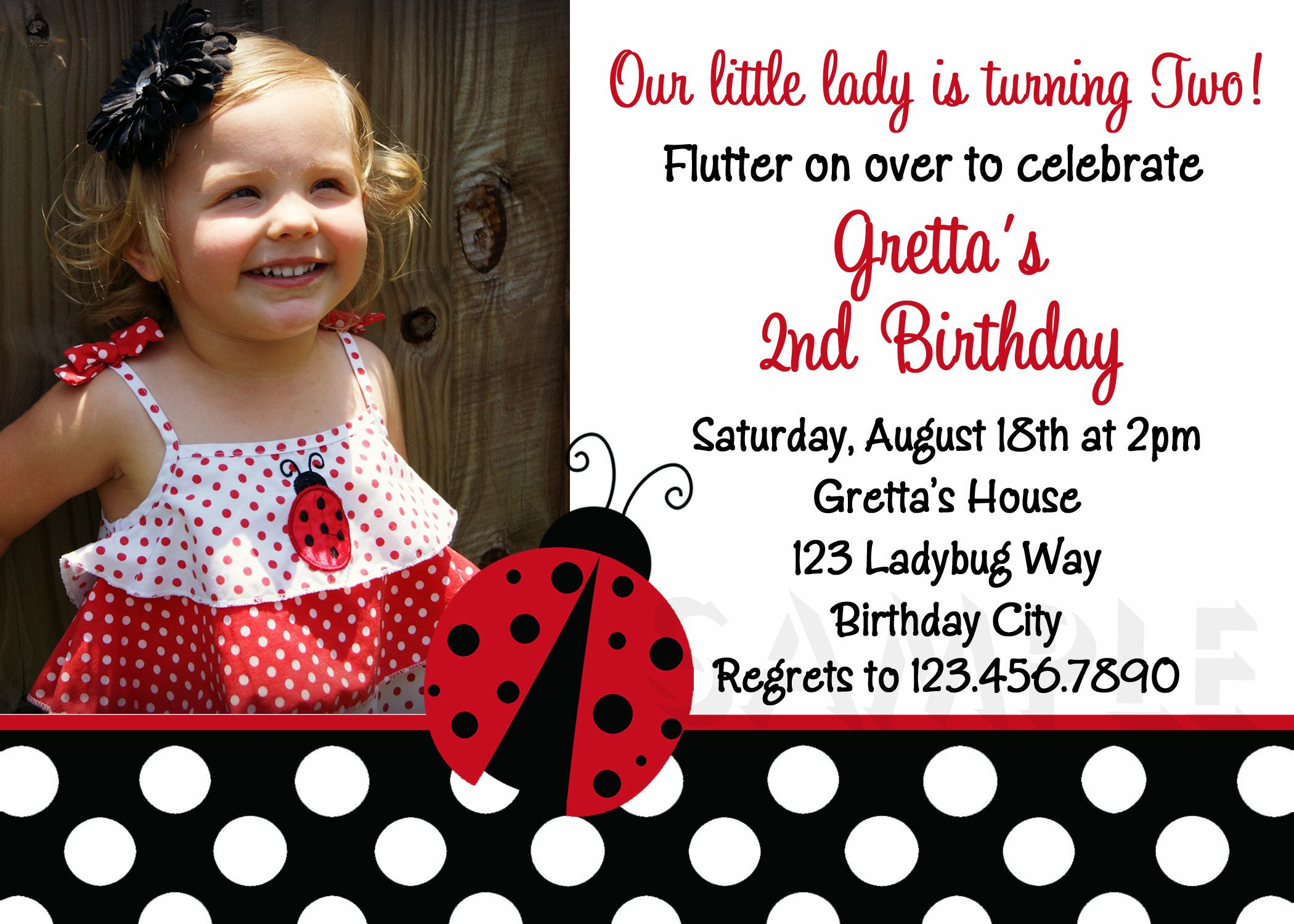 Ladybug Birthday Invitation Card