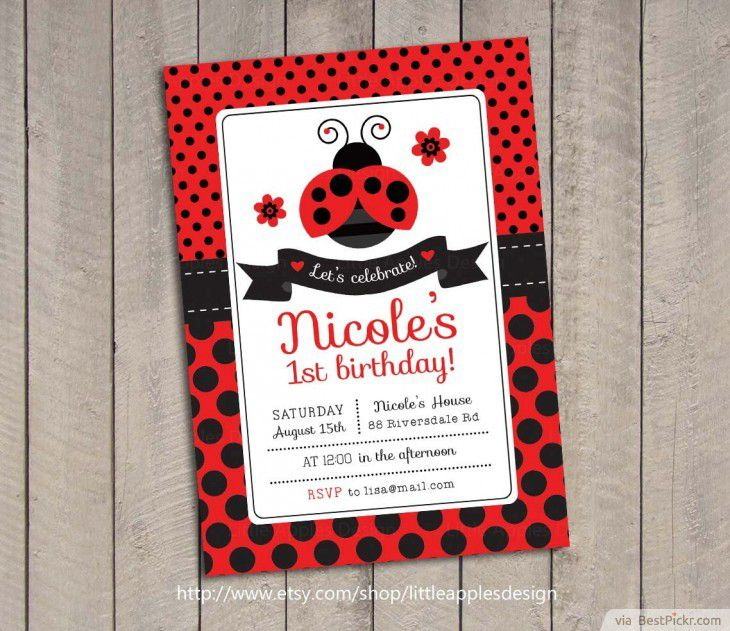 Ladybug Birthday Invitation Photo Card