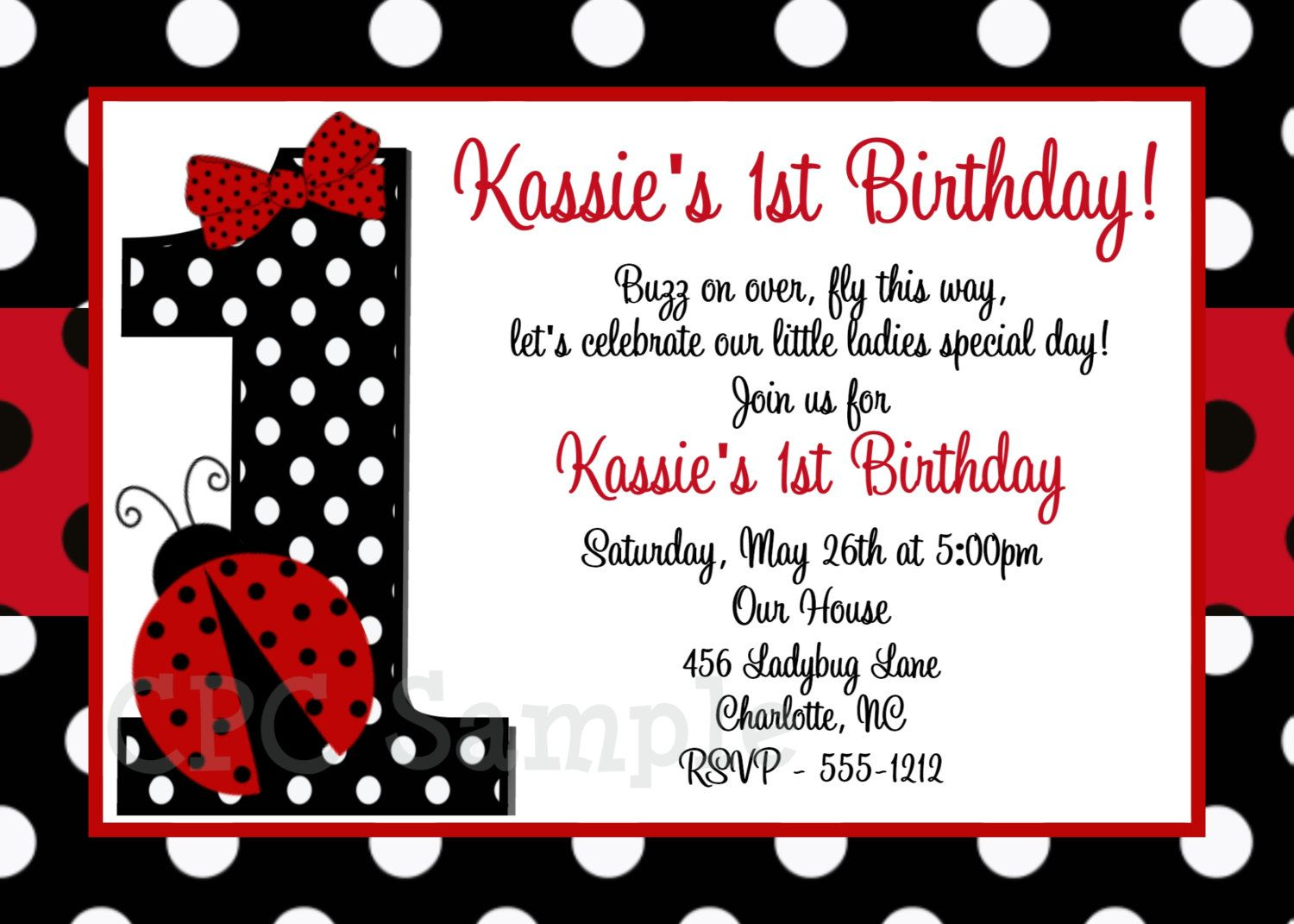 Ladybug Birthday Invitations Australia
