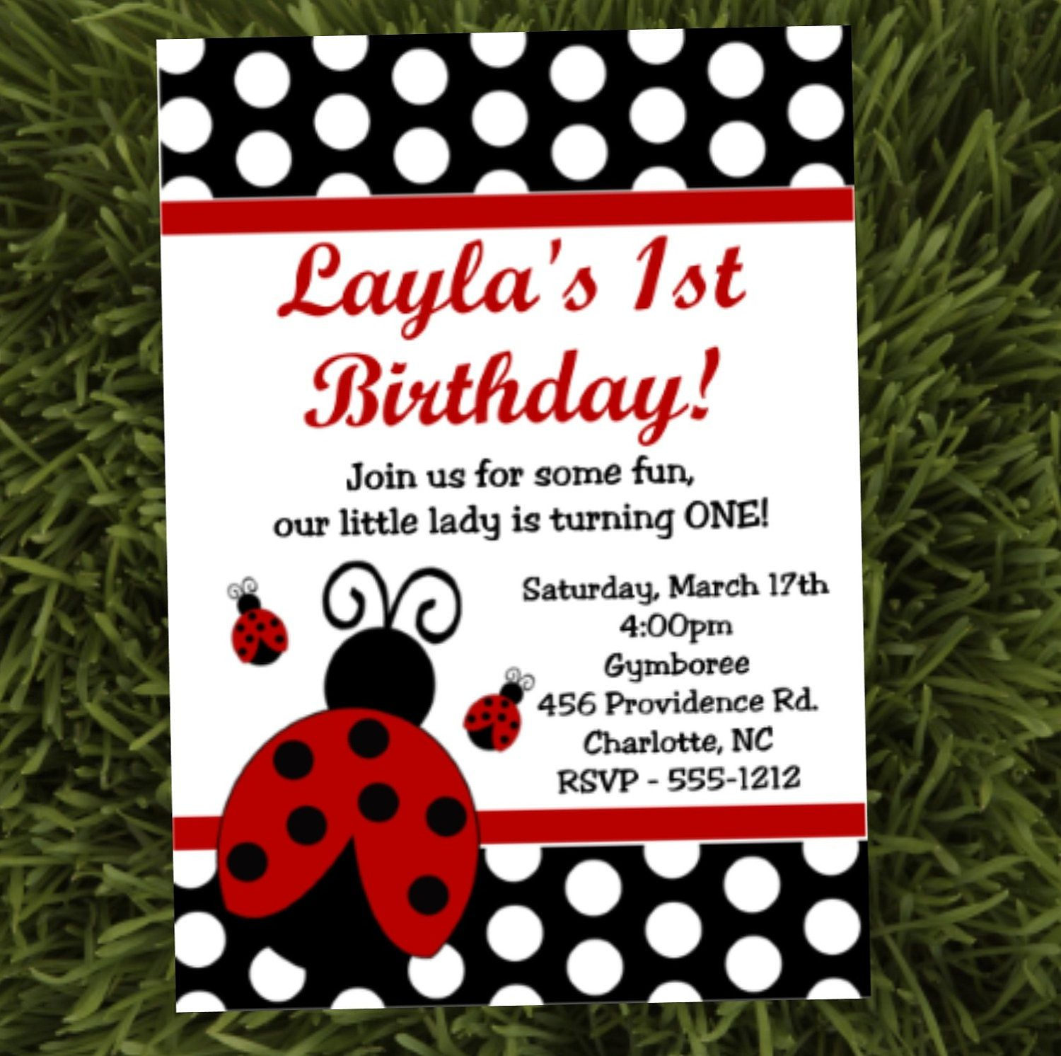 Ladybug Birthday Invitations Diy