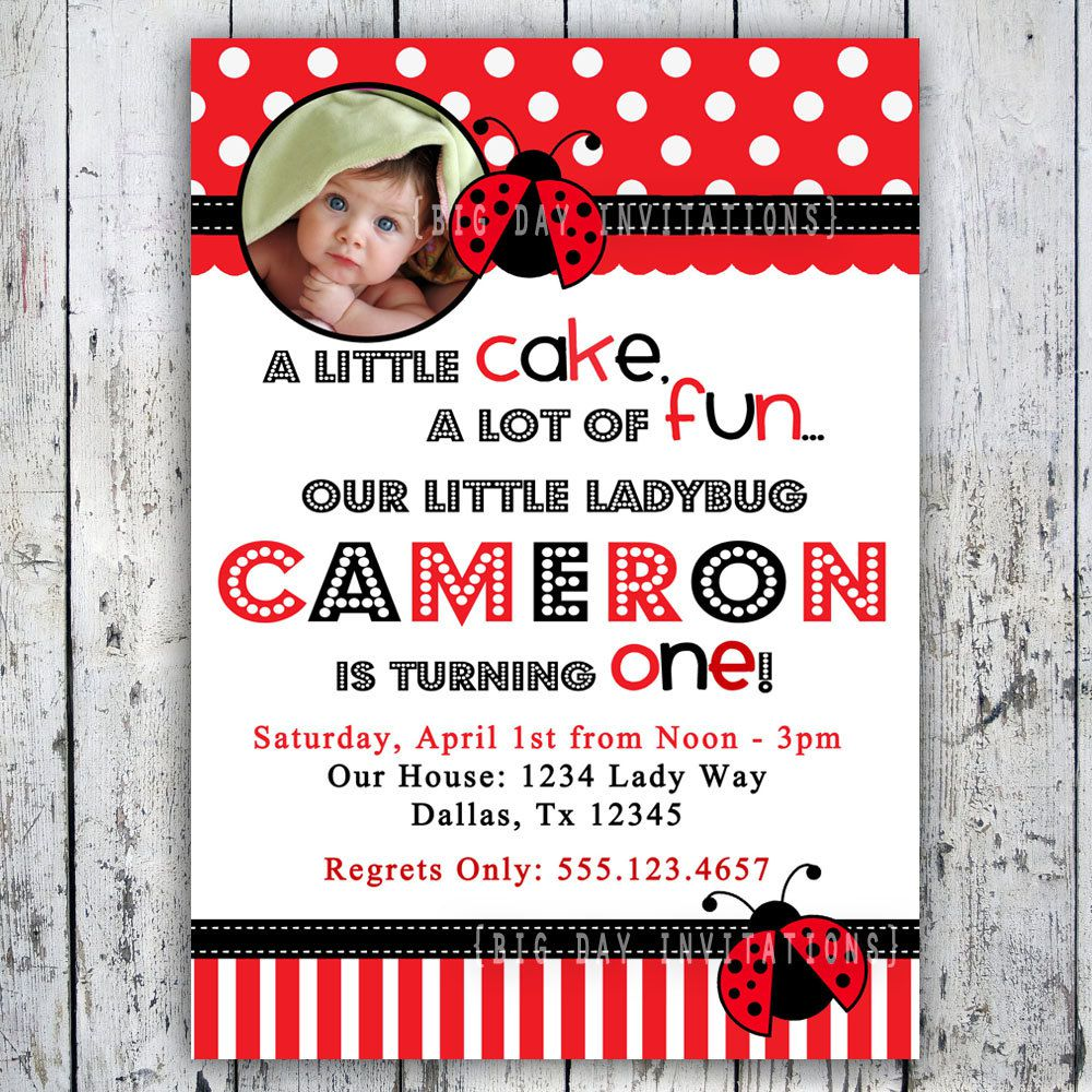 Ladybug Birthday Invitations Etsy