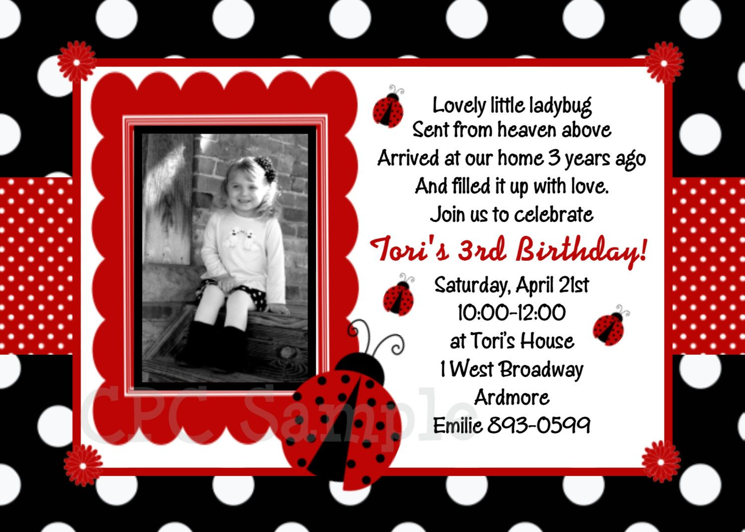 Ladybug Birthday Invitations Free Template