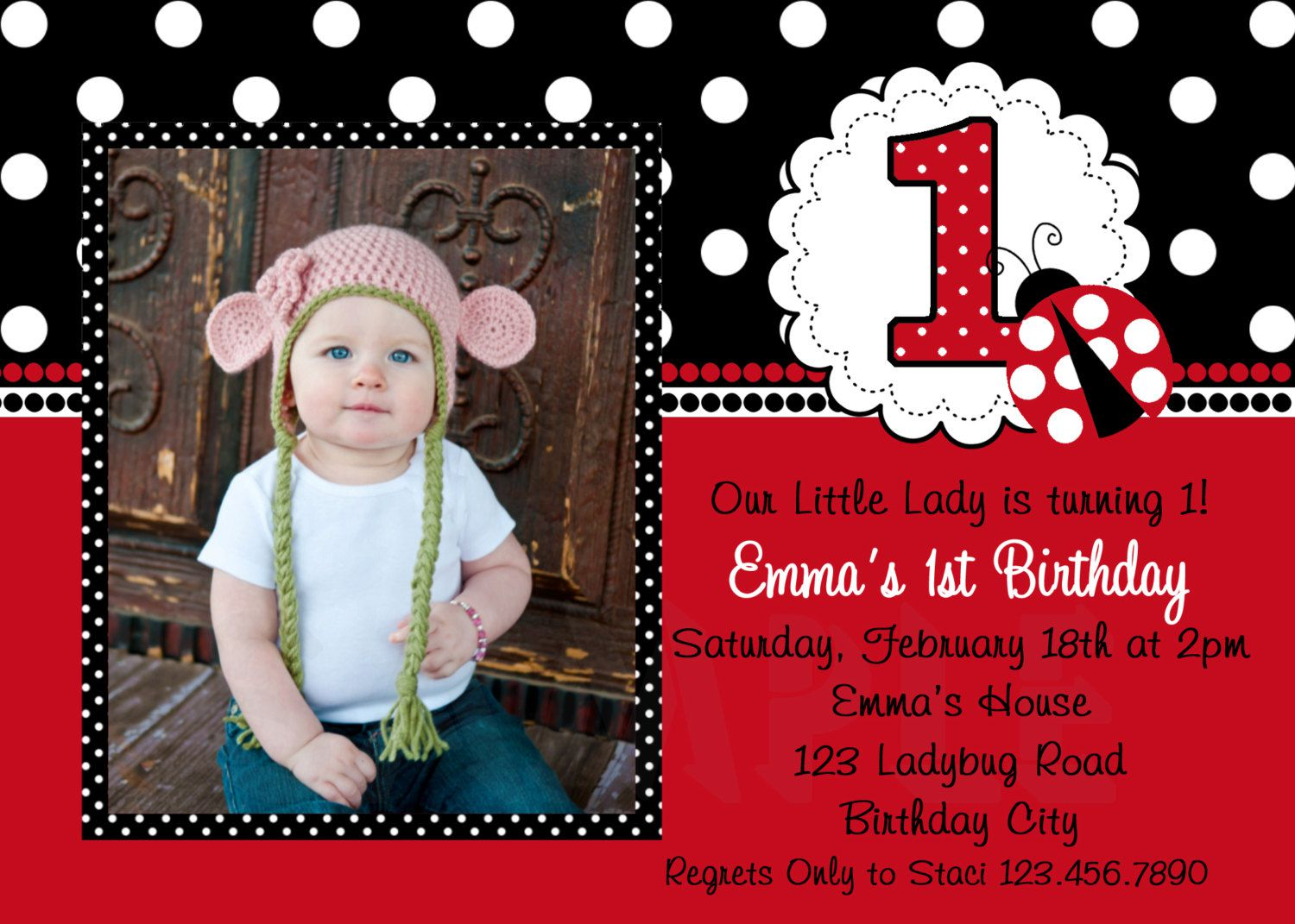 Ladybug Birthday Invitations Nz