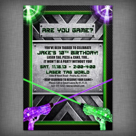 Laser Tag Birthday Invitations Etsy