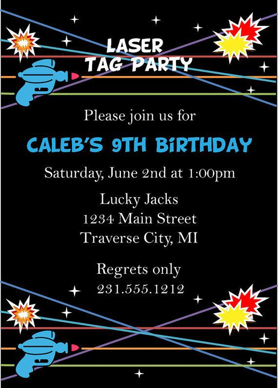 Laser Tag Birthday Invitations Free
