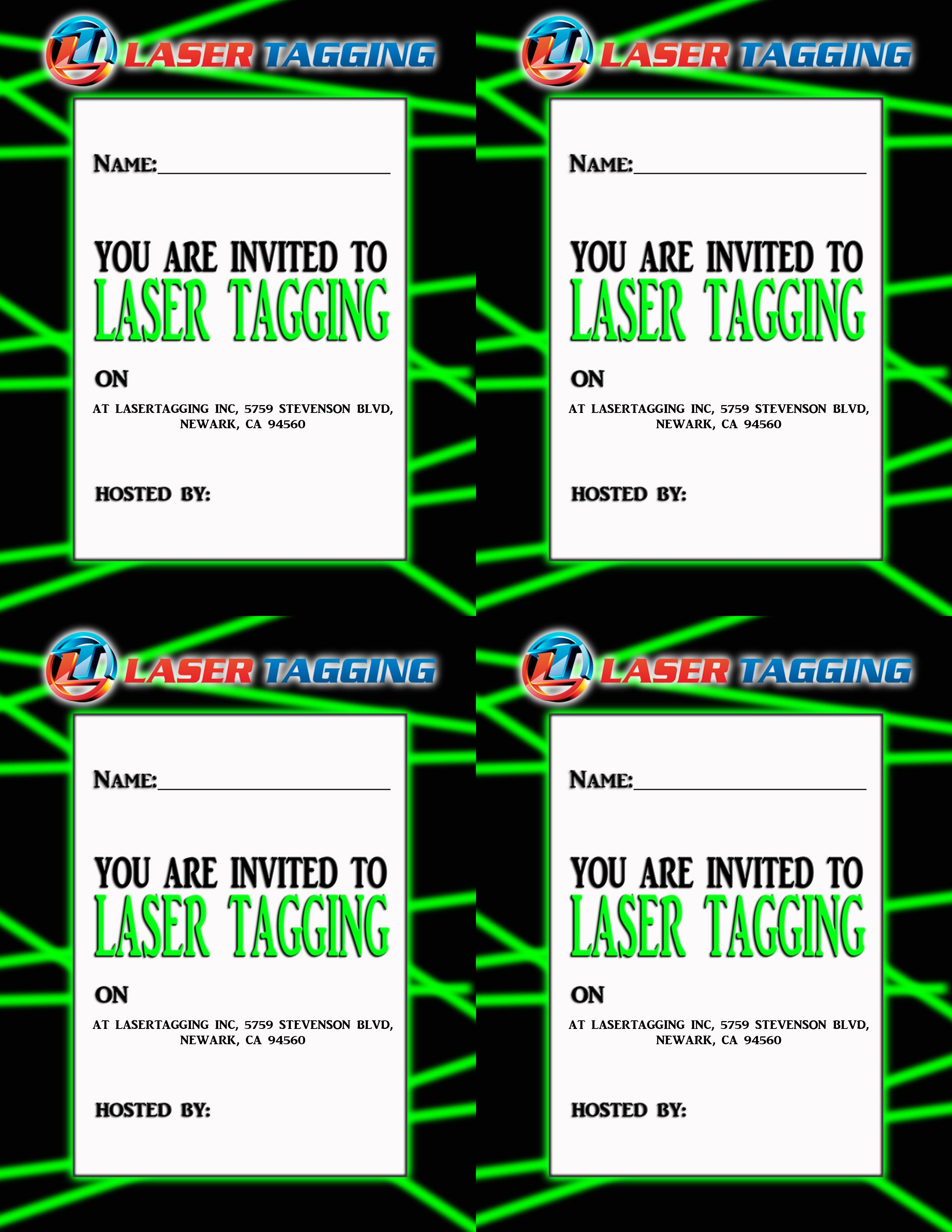 Laser Tag Birthday Invitations Online