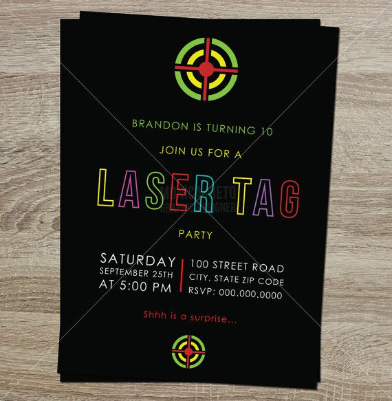 Laser Tag Birthday Invitations Template