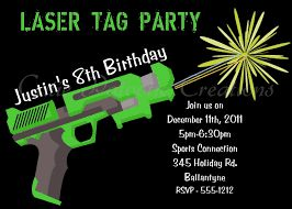 Laser Tag Birthday Party Invitations Wording