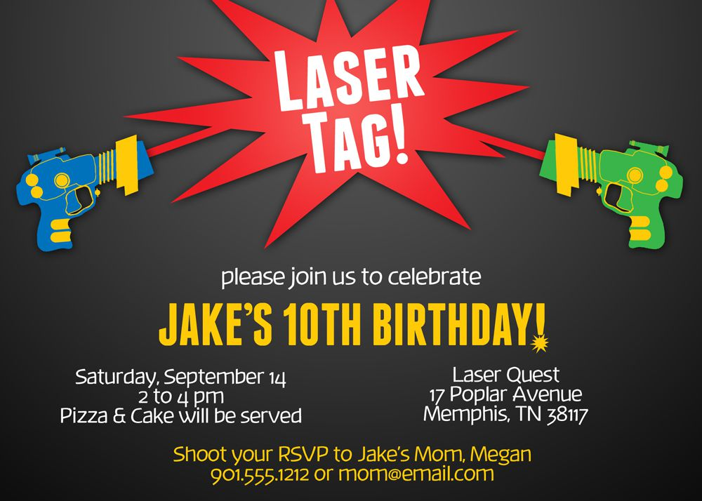 Laser Tag Invitation Cards