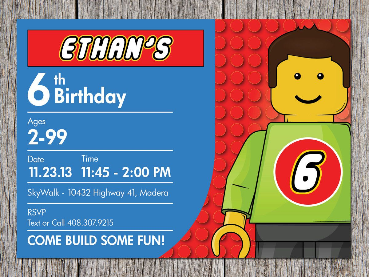 Lego Birthday Invitations Printable Free