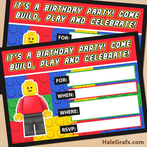 Lego Birthday Invitations Templates Free