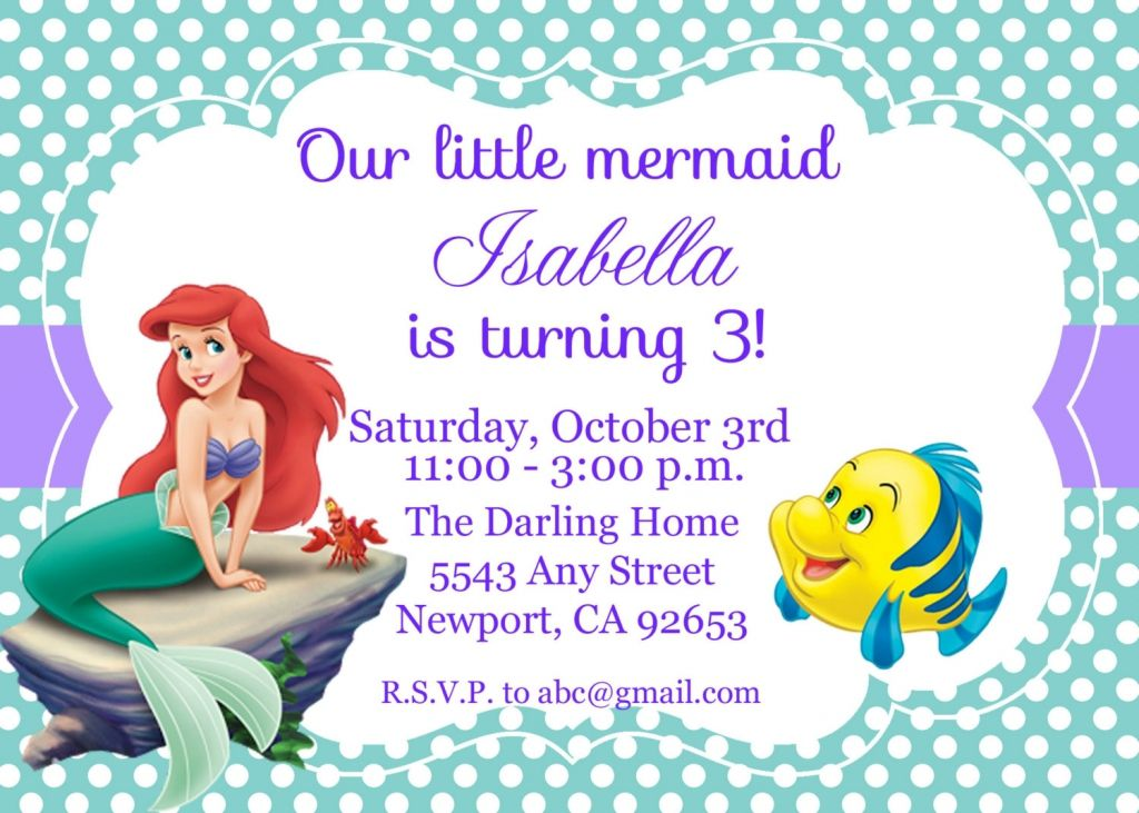 Little Mermaid Party Invitations Australia
