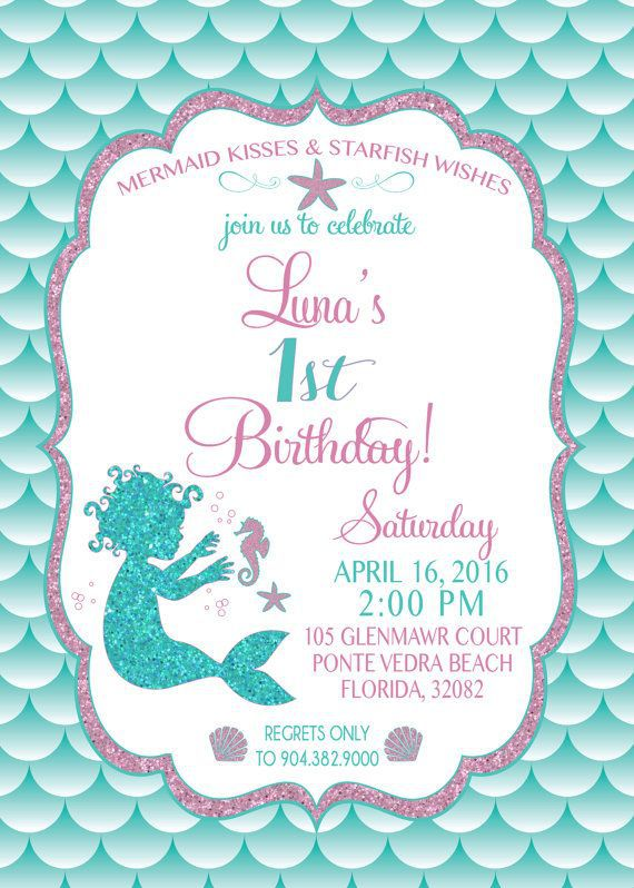 Mermaid Birthday Invitations Etsy