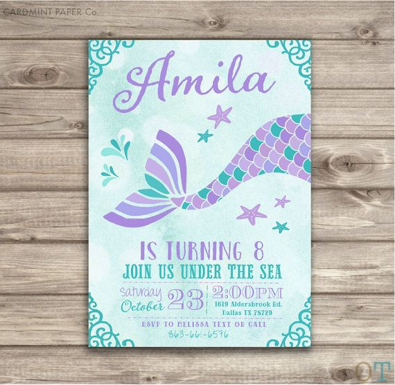 Mermaid Birthday Invitations Free