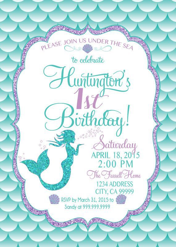 Mermaid Birthday Invitations Pinterest