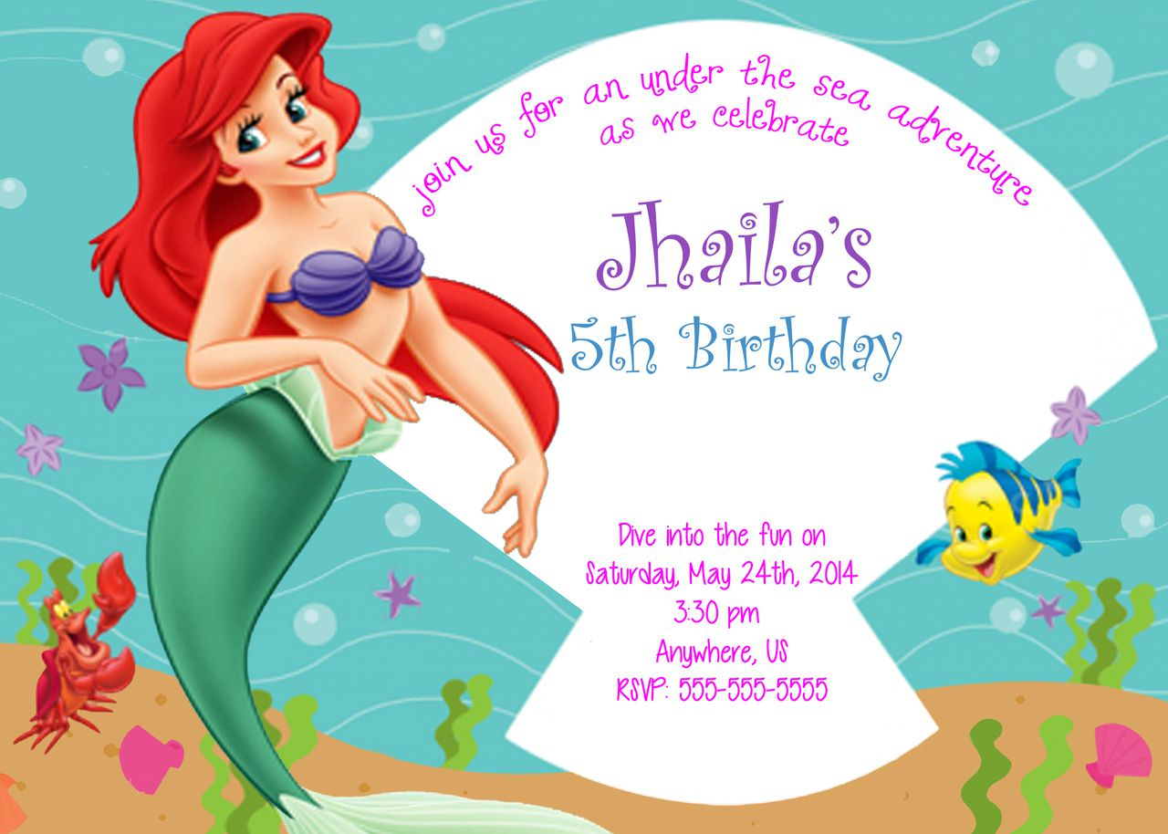 Mermaid Birthday Invitations With Picture