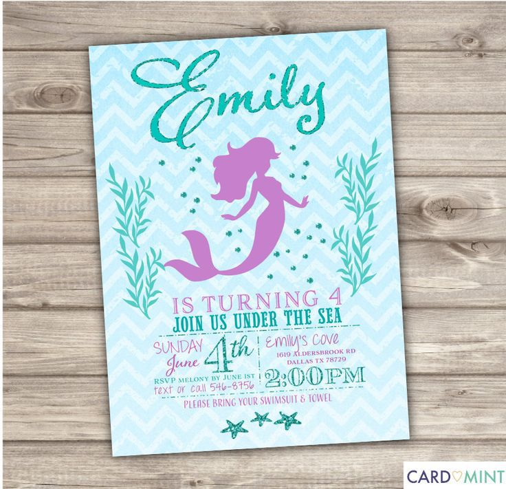 Mermaid Birthday Invitations Wording