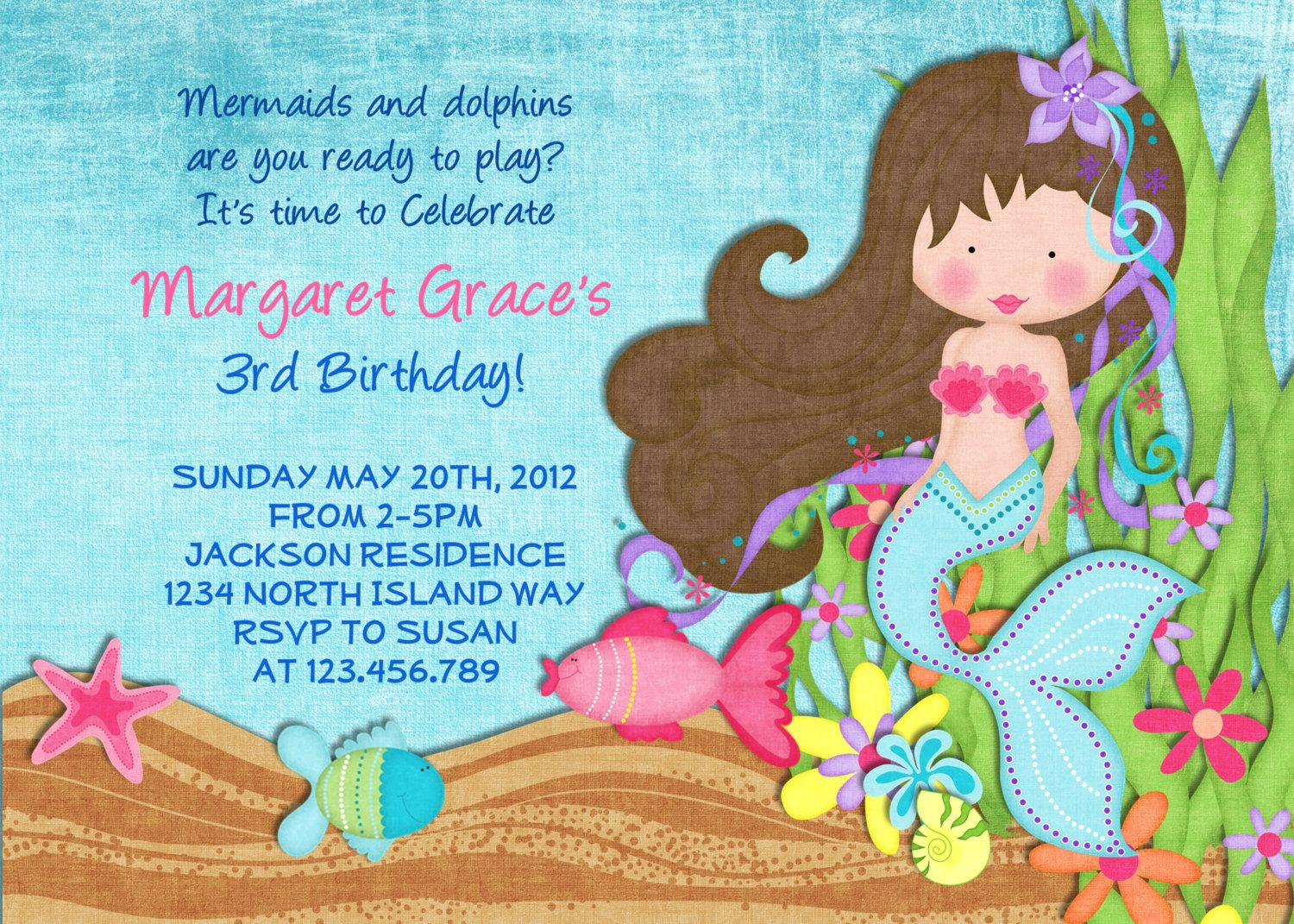 Mermaid Party Invitations Australia
