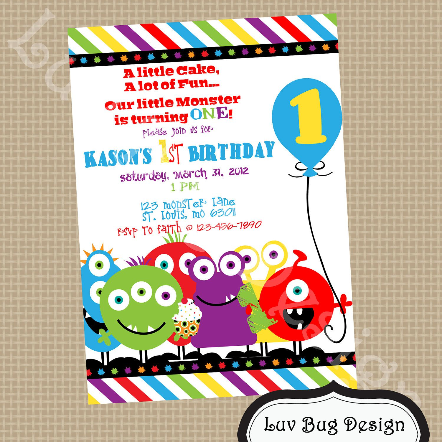 Monster Birthday Invitations Boy