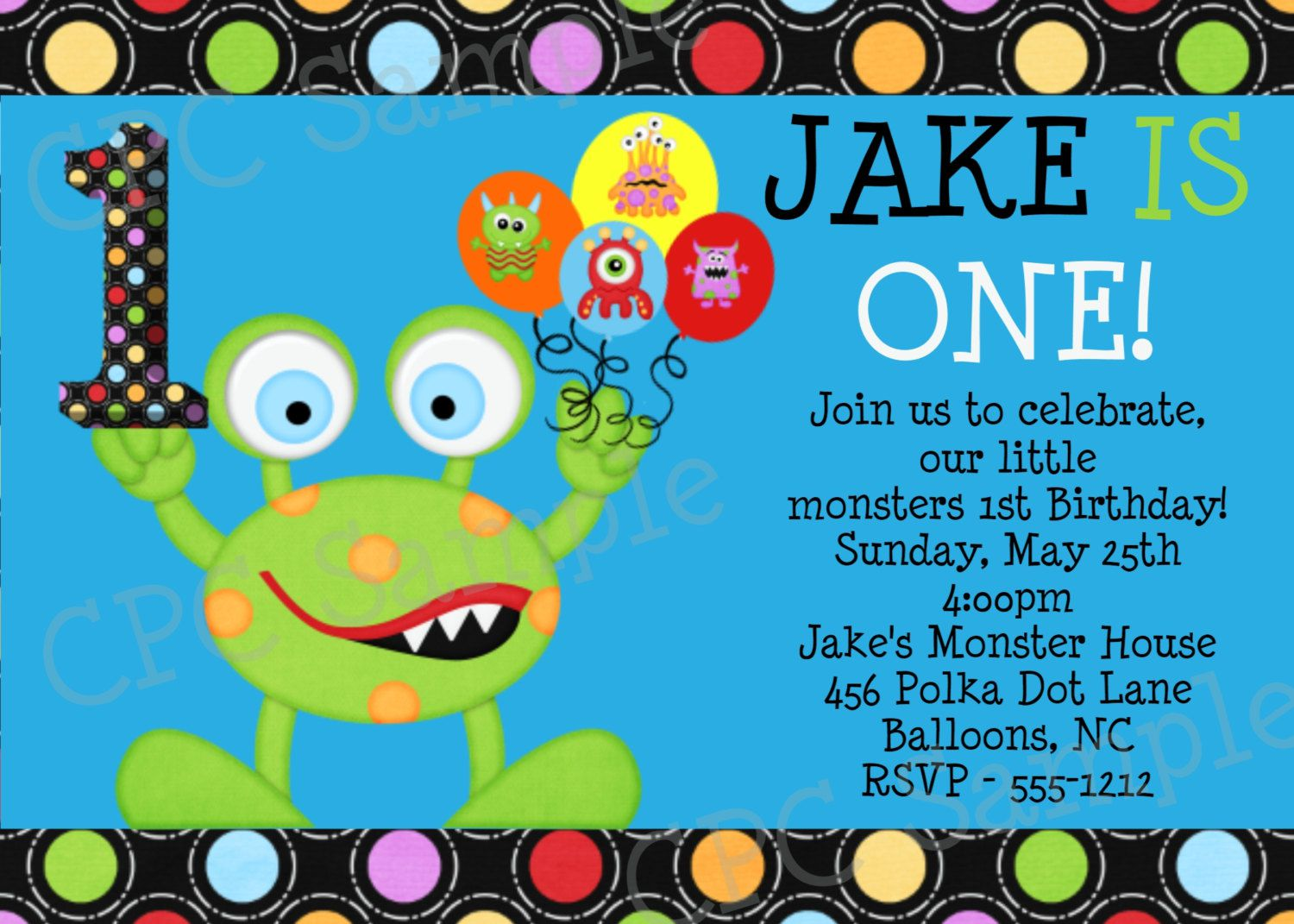 Monster Birthday Invitations Etsy