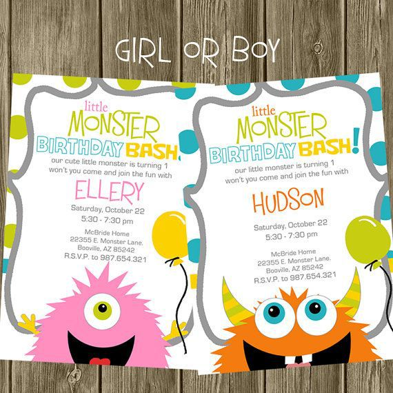Monster Birthday Invitations Free Printable