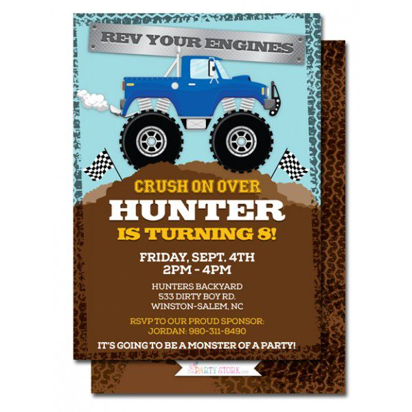 Monster Truck Birthday Invitation Ideas