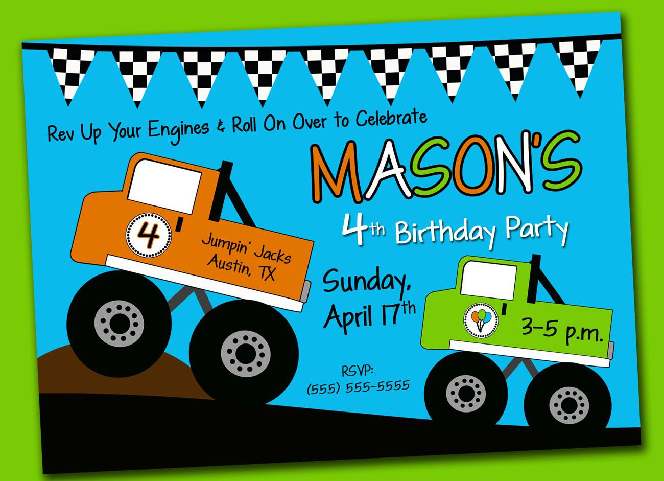 Monster Truck Birthday Invitation Template Free