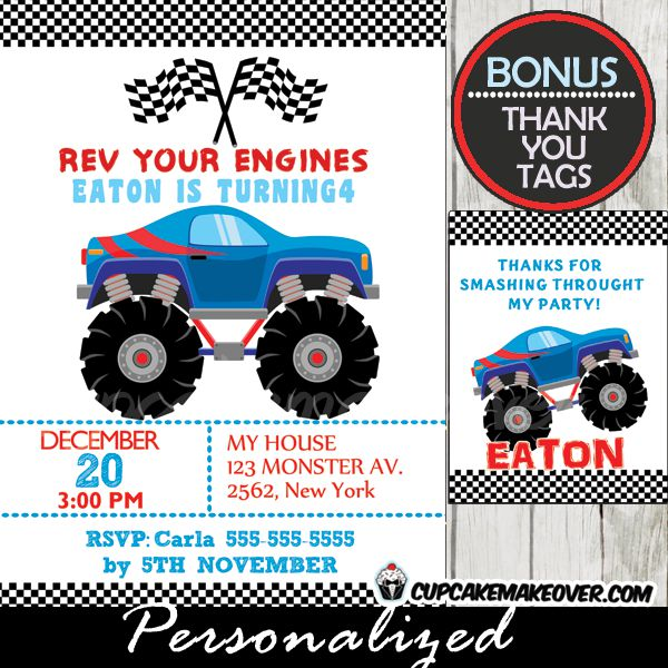 Monster Truck Birthday Invitations Free