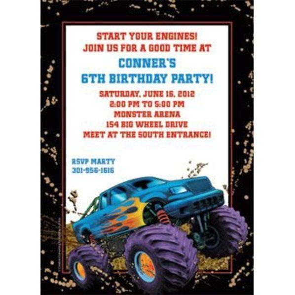 Monster Truck Birthday Invitations Party City
