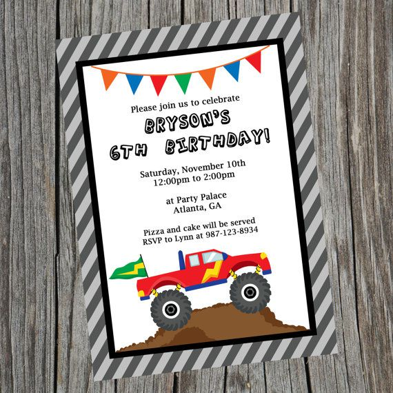 Monster Truck Birthday Invitations Template