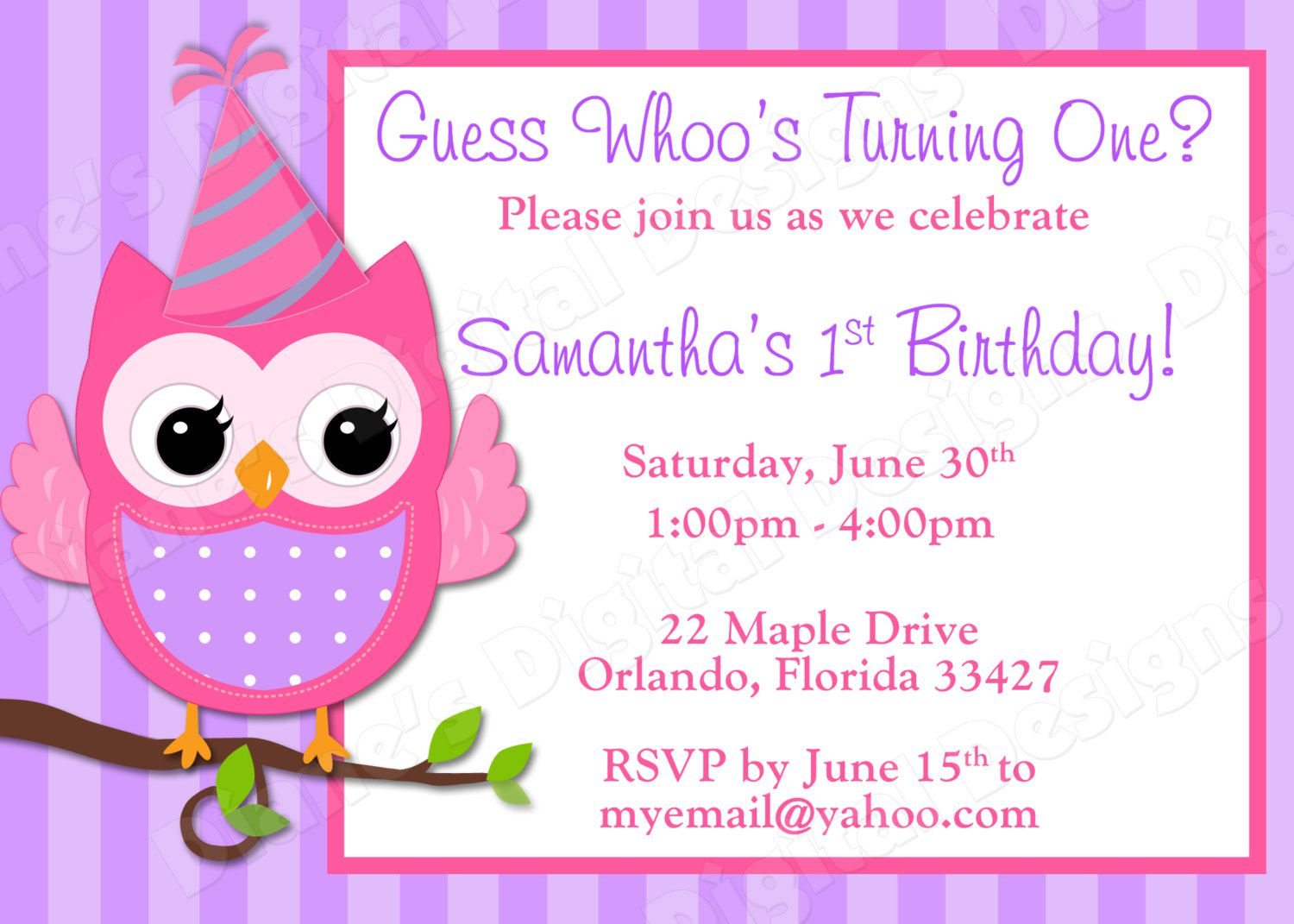 Owl And Pumpkin Birthday Invitations