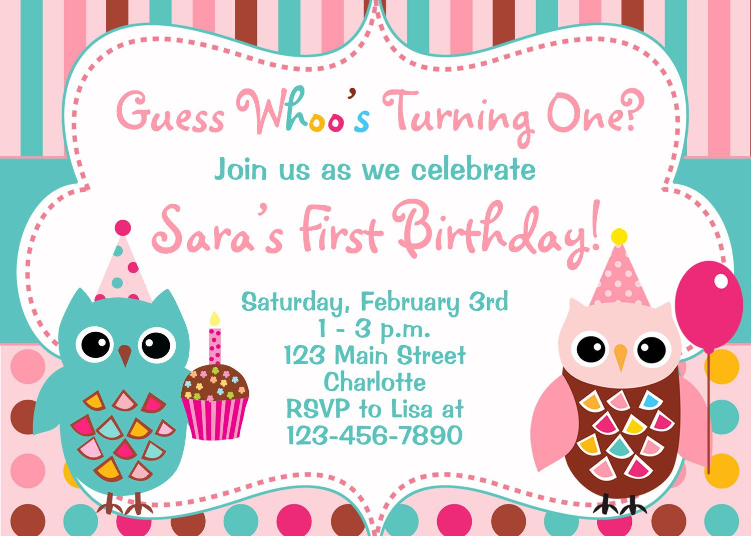 Owl Birthday Invitations Boy