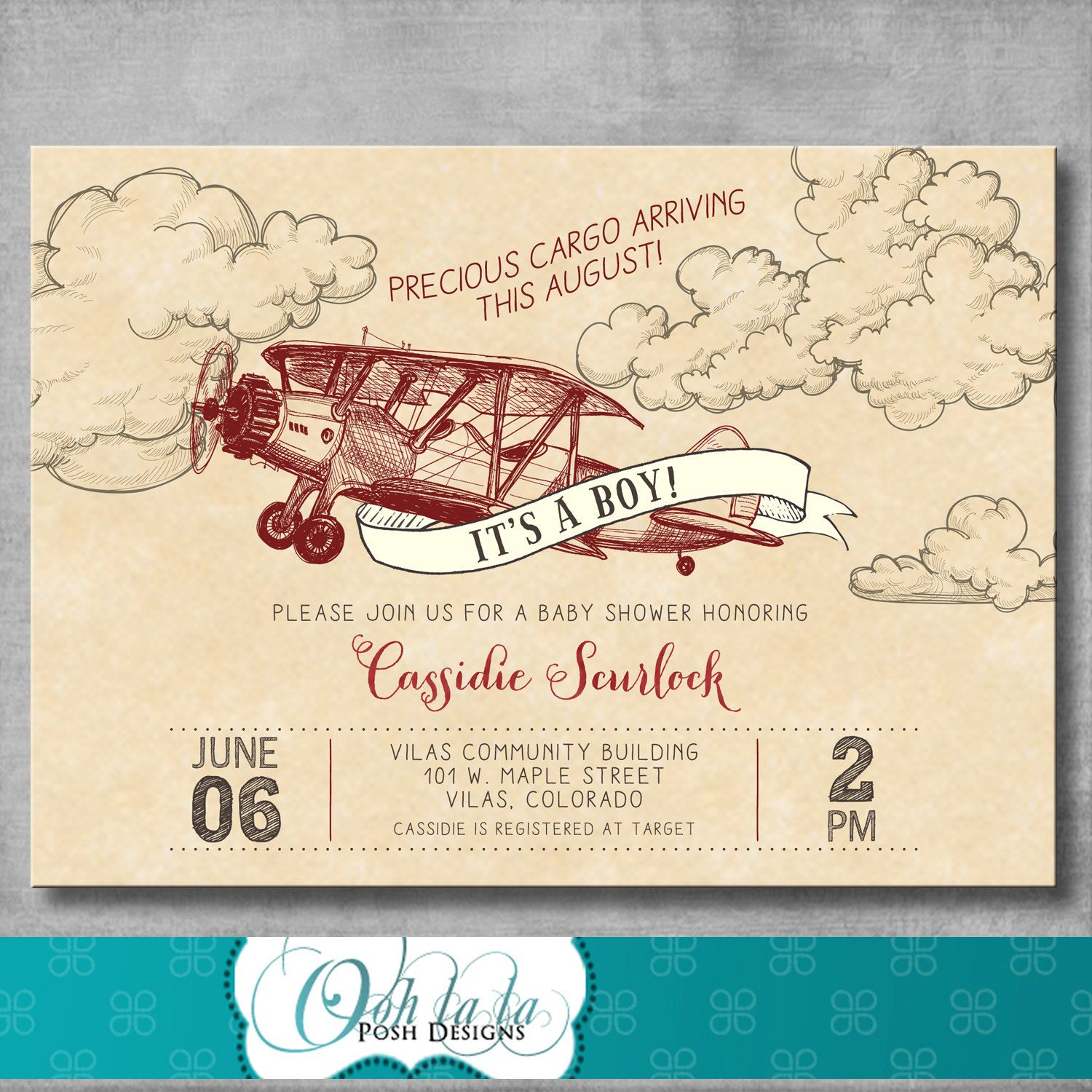 Paper Airplane Birthday Invitations