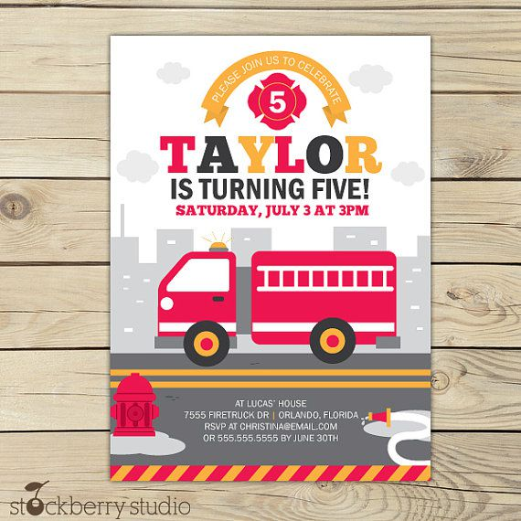 Personalized Fire Truck Birthday Invitations