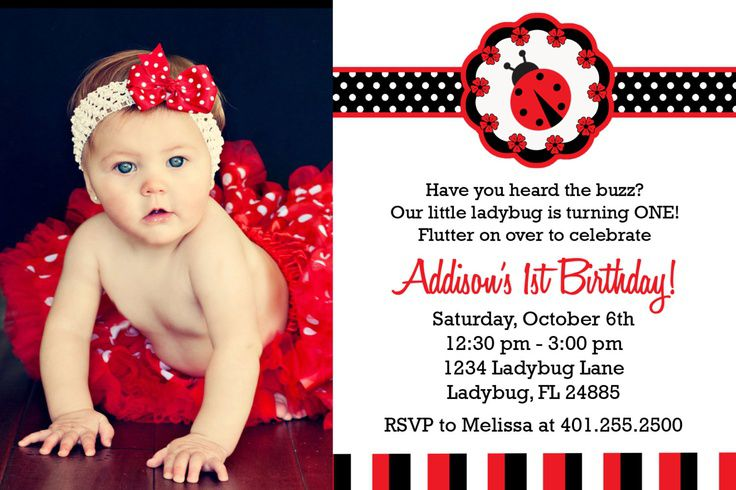 Pink And Green Ladybug Birthday Invitations