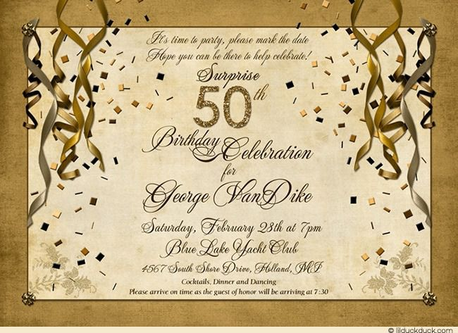 Surprise 50th Birthday Invitations Cheap