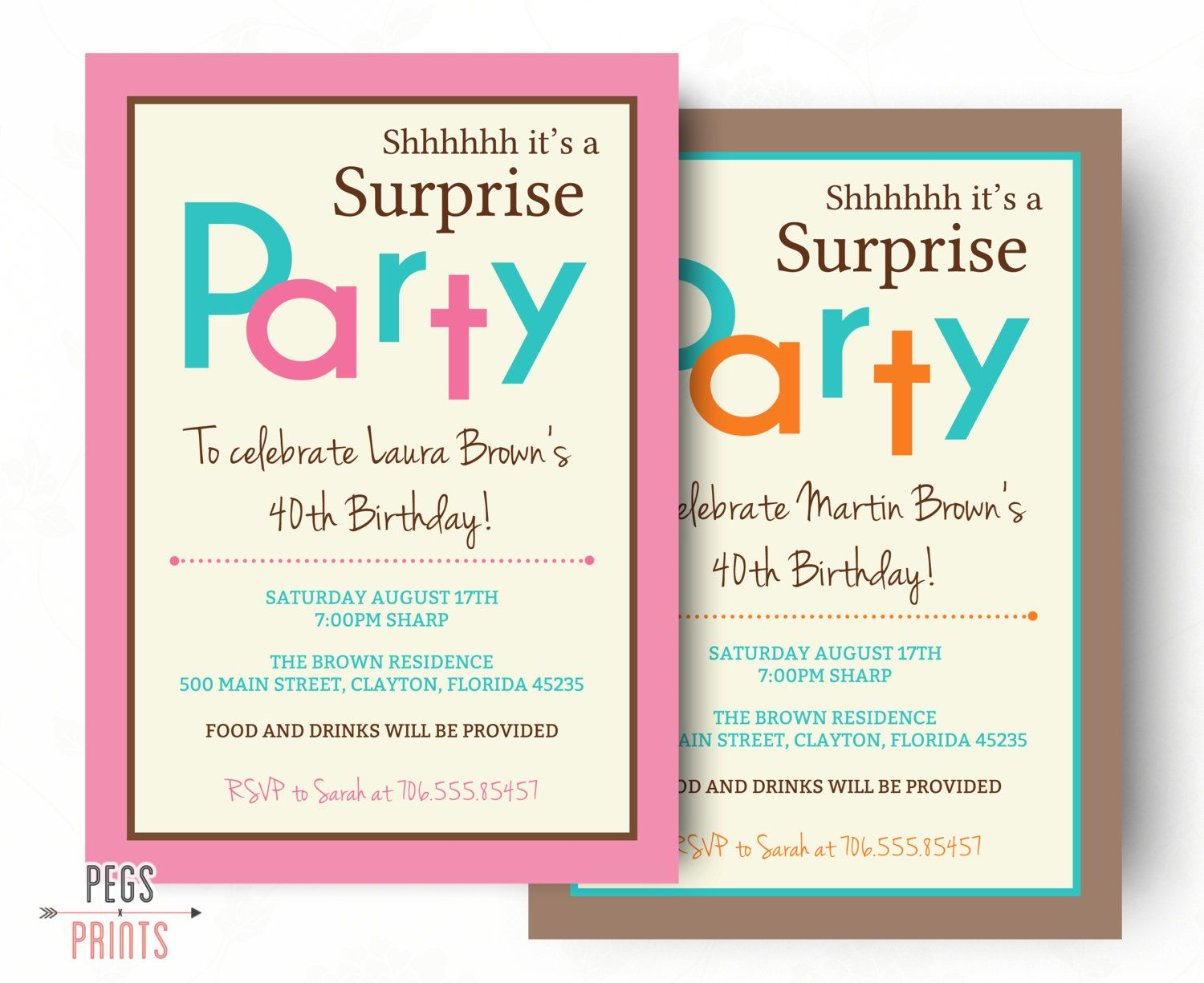 Surprise Birthday Party Invitations Free Download