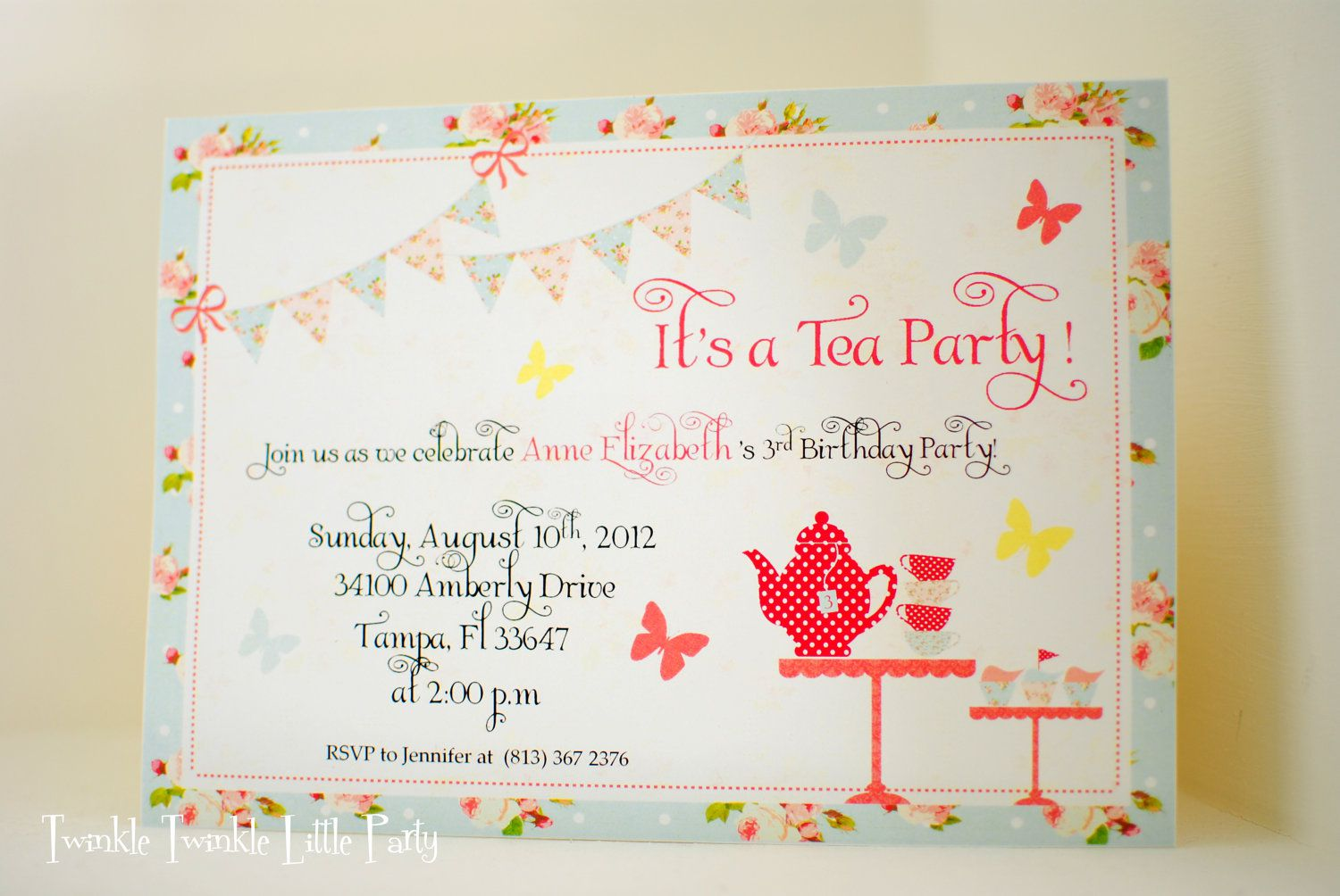 Tea Party Birthday Invitation Template Free