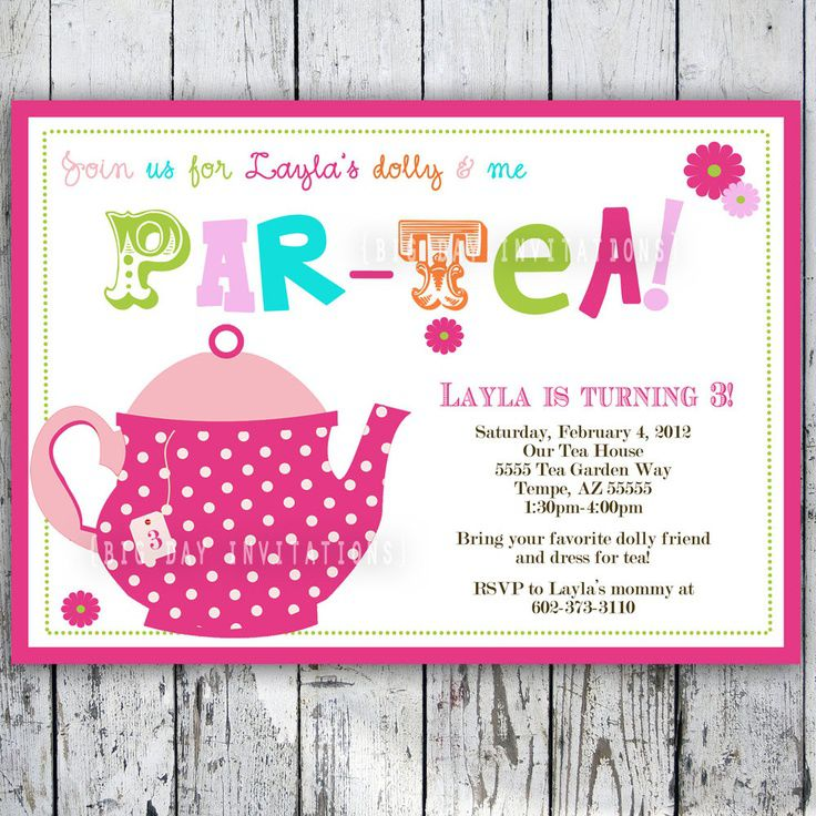 Tea Party Birthday Invitations Free Printables