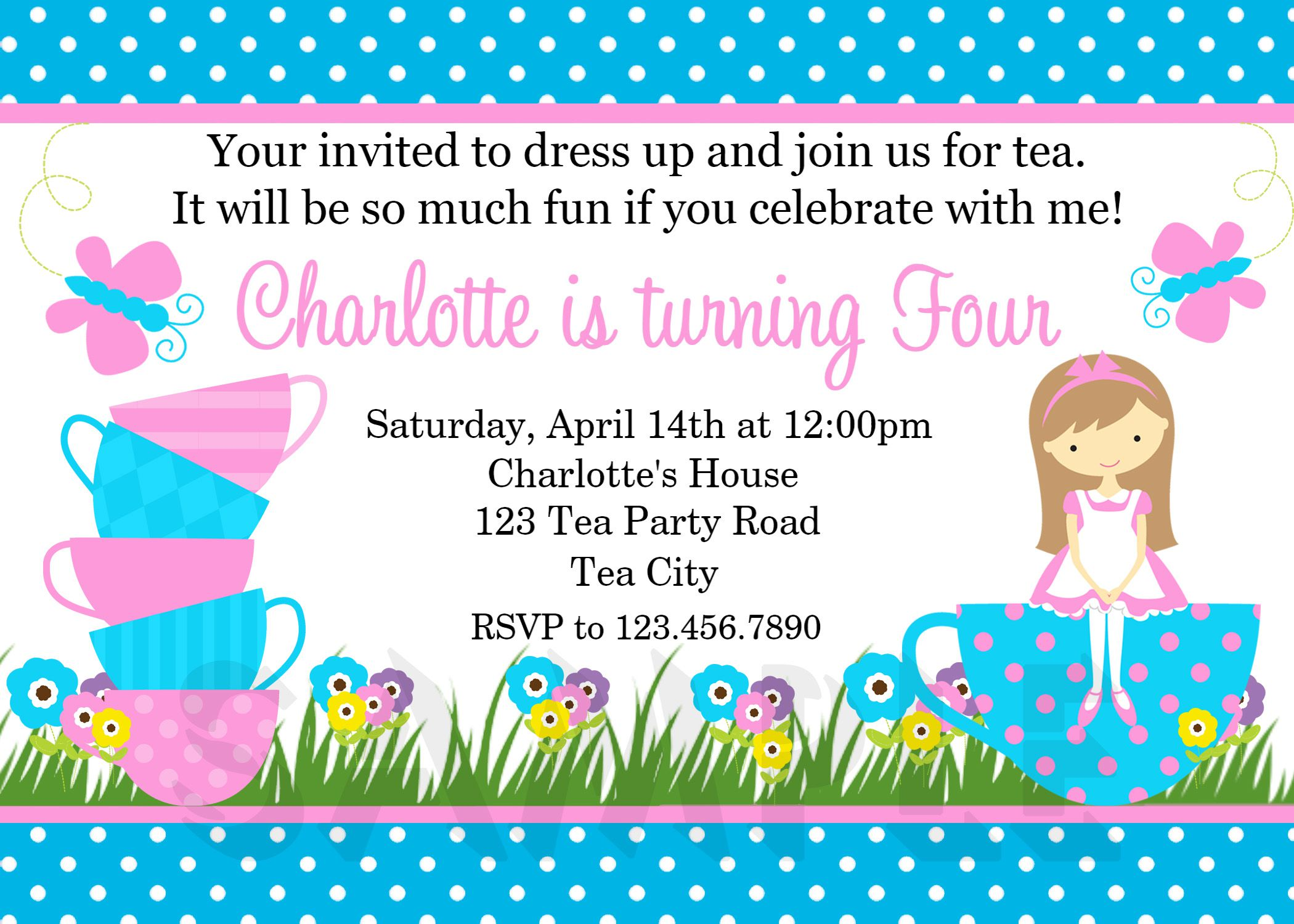 Tea Party Birthday Invitations Pinterest