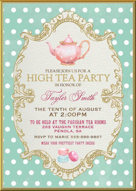 Tea Party Birthday Invitations Printable